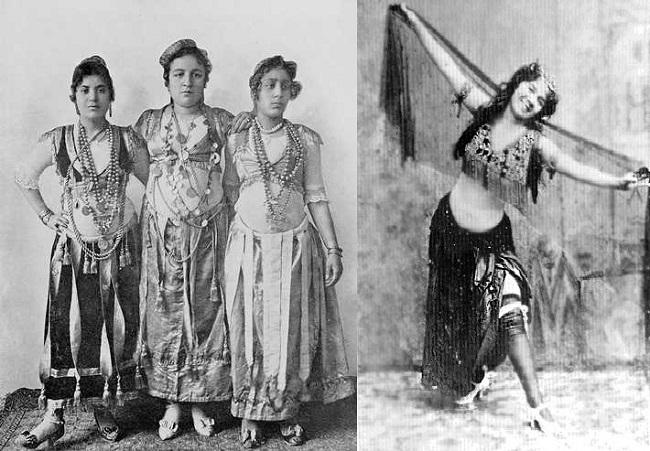 (يمين) صورة يعتقد أنها لفريدة مظهر (يسار) مجموعة من الراقصات اللاتي وافقن على السفر مع بنجالو