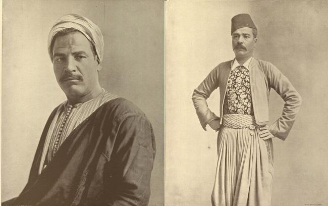 (يمين) سولومون ليفي، يهودي مصري كان يقوم بإرشاد الزوار داخل المعرض (يسار) سائق دواب يدعى حسن شحاته عرف بين زوار الجناح بقوته ودماثة خلقه