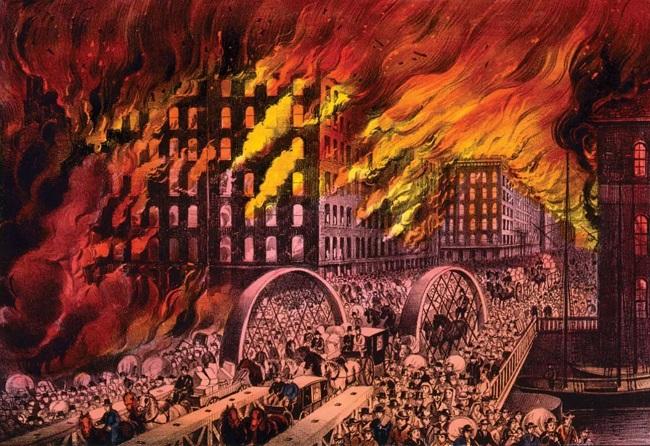 """لوحة تسجل ضخامة الحريق الي التهم مدينة شيكاغو عام 1871 وهو الحدث الذي يعرف تاريخيا باسم """"حريق شيكاغو العظيم"""""""